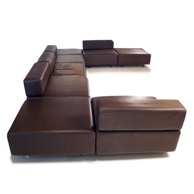 Harvey Probber Chocolate Brown Leather 'Cubo' Sectional Sofa - Image 4 of 9