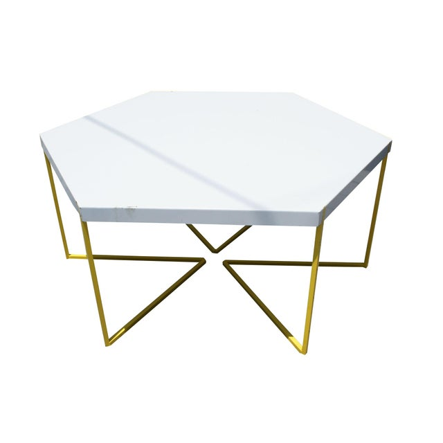 Hexagon Coffee Table With Yellow Wire Base Chairish