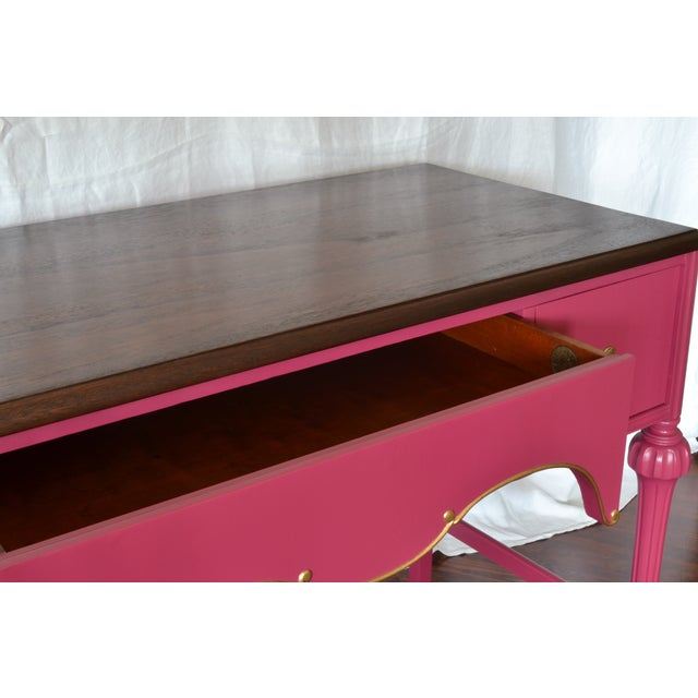 Pink Antique Mahogany Writing Desk Vanity Gold - Image 5 of 7