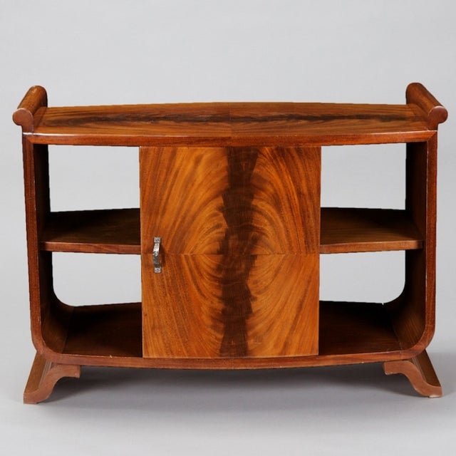 Image of French Art Deco Burl Wood Side Table Cabinet