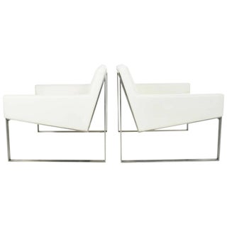 Pair of B3 White Leather Lounge Chairs by Fabien Baron for Bernhardt