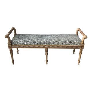 Gilded Wood & Animal Print Bench