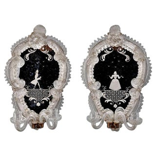 Venetian Mirror Back Wall Sconces with Etched Figures - A Pair