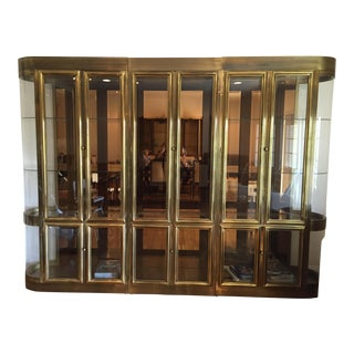 Mastercraft Lighted Brass Vitrine Cabinet- Set of 3