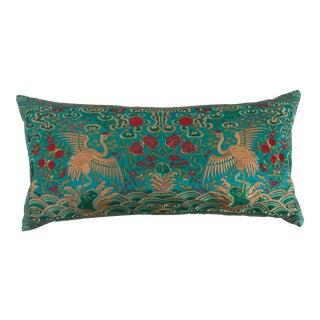 Turquoise Silk Boudoir Pillow