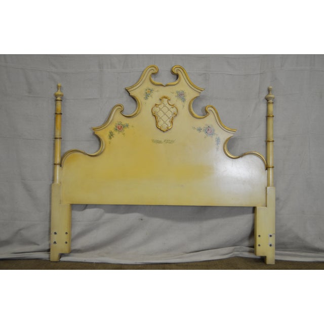 Vintage Rococo Louis XV Style Hand Painted Queen Poster Headboard - Image 2 of 10