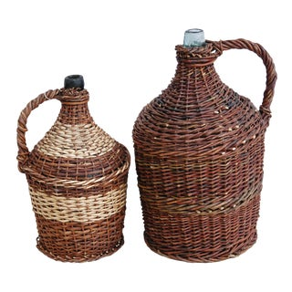 Early 1900s French Wicker Demijohn Bottles - Set of 2