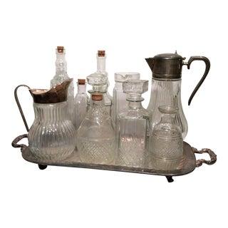 Vintage Italian Glass & Silver Beverage Set - 10 Pieces