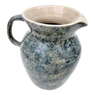 Vintage Blue Spongeware Pottery Pitcher