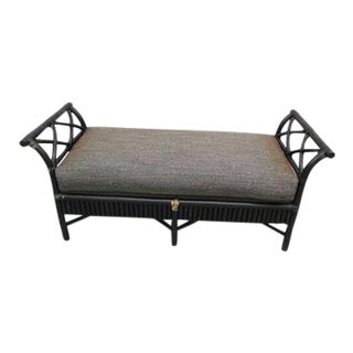 Bamboo Rattan Black Bench Chair McGuire Style