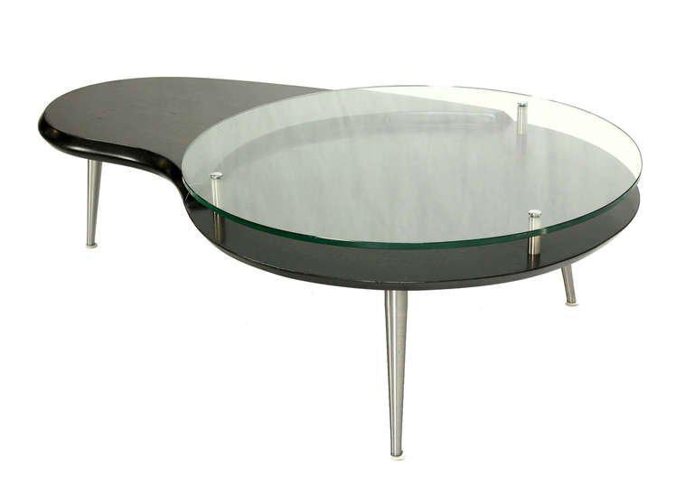 Mid Century Modern, Organic Kidney Shape, Elevated Glass Top Coffee Table