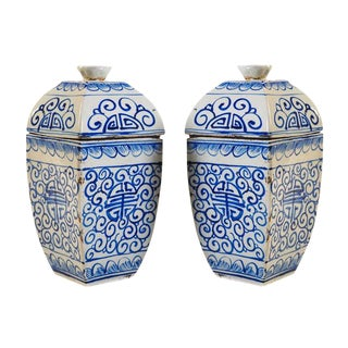 Chinese 19th Century Blue & White Urns - A Pair