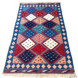 "Colorful Vintage Shiraz Kilim Rug  6'4"" x 3'8"""