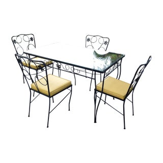 Vintage Mid Century Modern Wrought Iron Patio Dining Set