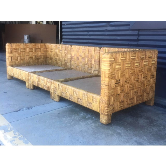 Vintage Woven Caning Sectional Sofa - Image 4 of 11
