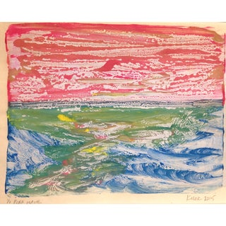 Ocean Print- Pink Wave- Original Monotype