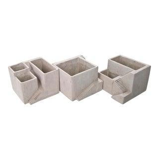 Architectural Style Concrete Planters- Set of 3