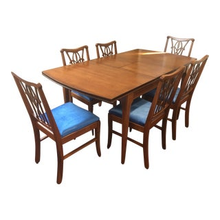 1 Dining Table & 6 Fleur-De-Lis Chairs in Mahogany Set