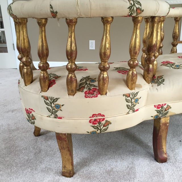 French Tete a Tete Gilded Wood Tufted Sofa - Image 8 of 10