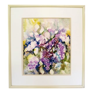 Original Abstract Wisteria Watercolor Painting