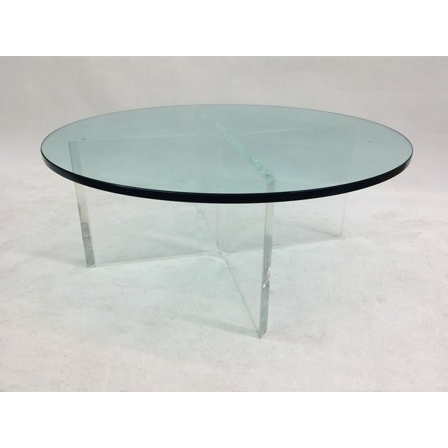 Glass Coffee Table On Bent Lucite Base Chairish