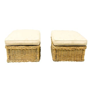 Pair, Vintage Wicker Works Upholstered Ottomans