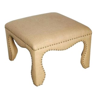 Burlap Ottoman with Weathered Brass Nailheads