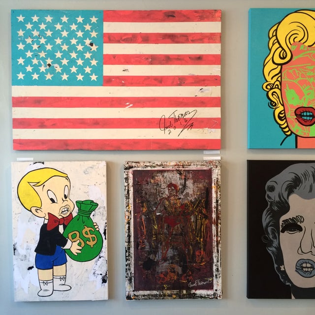 Jacob Thomas 'Distressed American Flag' Painting - Image 3 of 3