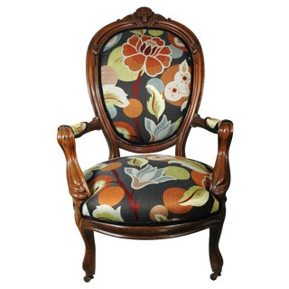 Antique Armchair with Floral Upholstery