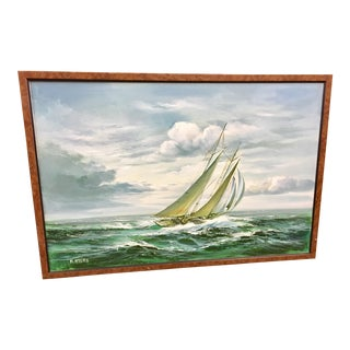H. Mayers Sailing Boats Oil Painting