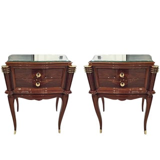 Jules Leleu Style French Art Deco Night Stands - A Pair