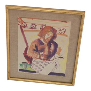"""Framed Signed """"Sitting Woman"""" Watercolor Painting"""