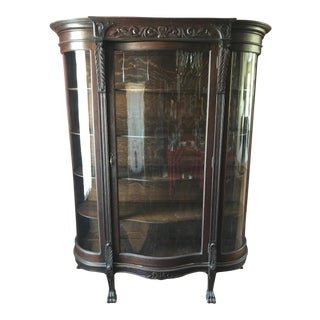 Antique Tiger Oak China Cabinet