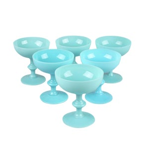 Blue Glass Sherbet Cups - Set of 6