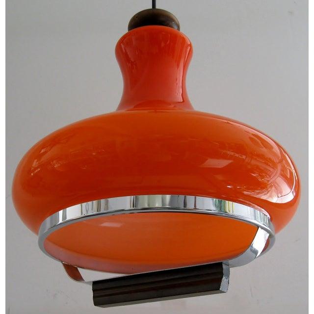 German Orange Glass Pendant Light | Chairish