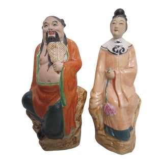 Chinese Porcelain Immortal Figures - A Pair