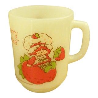 "Anchor Hocking Fireking ""Strawberry Shortcake"" Milk Glass Coffee Mug"