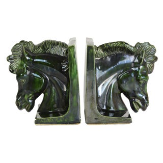 Vintage Emerald Horse Bookends - A Pair