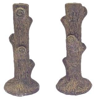 Faux-Bois Candleholders - A Pair