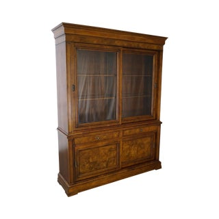 Ethan Allen Townhouse Burl Wood Large Sliding Door Bookcase China Cabinet