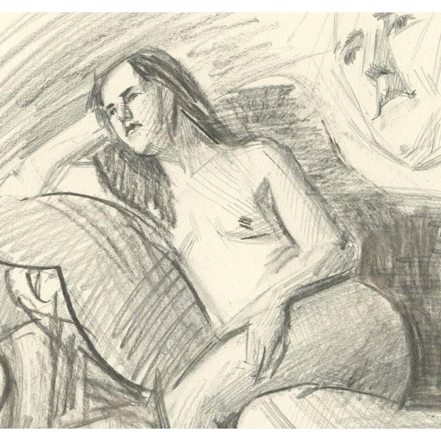 "Image of ""Rae on the Couch,"" Original Drawing"
