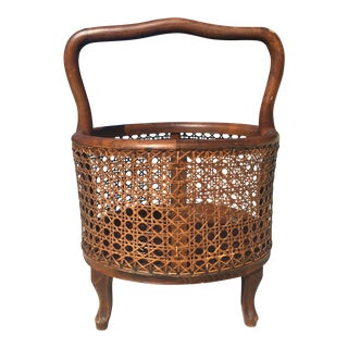 Antique Italian Cane Footed Sewing Basket