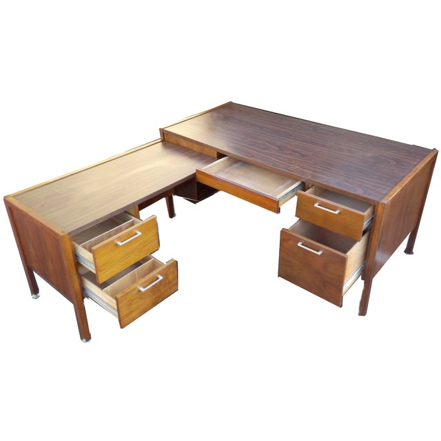 Image of MCM Minimalist Junior Wooden Desk With Return