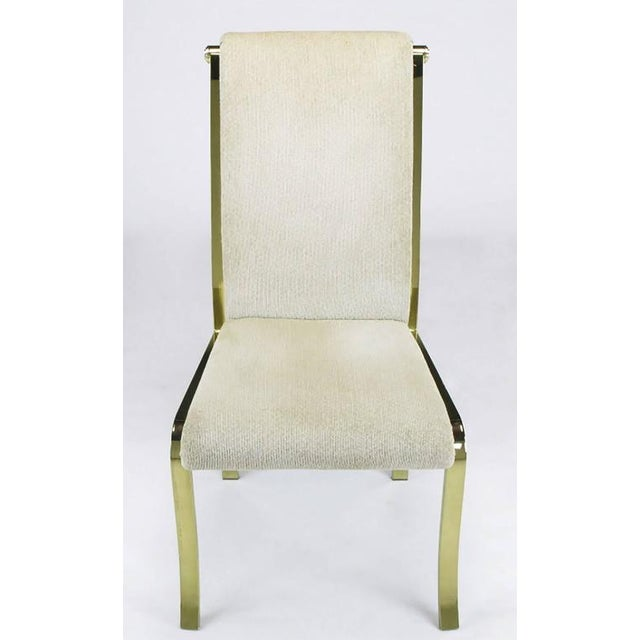 Set of Six Art Deco Revival Brass Dining Chairs by Design Institute of America - Image 3 of 9