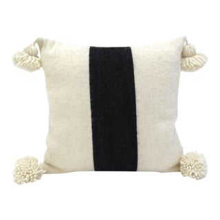 Ivory & Black Moroccan Wool Throw Pillow