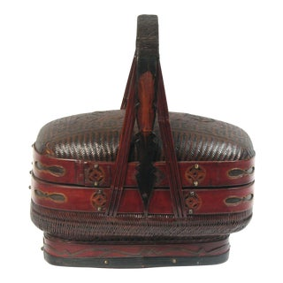 Asian Antique Chinese Lidded Basket