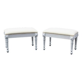 Swedish Style Painted Footstools - A Pair
