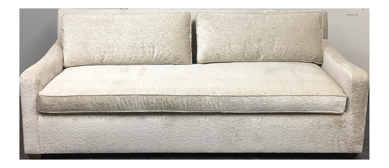 Fitzgerald Of San Francisco Off White Velvet Sofa