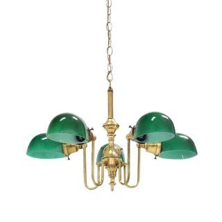 Emerald and Glass Brass Light Fixture