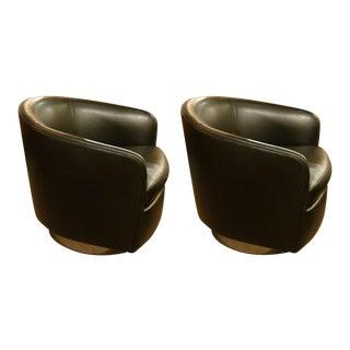Milo Baughman Barrel Back Swivel Tilt Lounge Chairs - a Pair